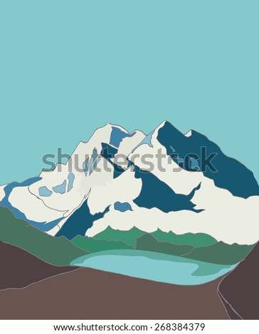 The Mountains. Mountain landscape. mountains covered with snow. Background, card, poster. Vector.