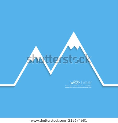 The mountains with snowy peaks. Vector icon. Logo. Hiking, climbing, travel. Investigation of the Wild - stock vector
