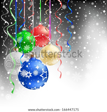 The multicolored christmas bauble and ribbons on the black mesh background
