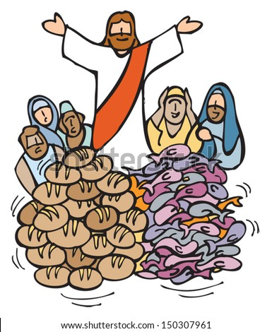 The Multiplication of the Loaves and Fish by Jesus.  - stock vector