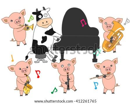 The music presentation of domestic animals. - stock vector