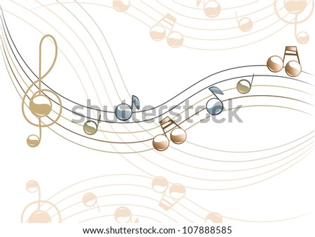 The musical illustration. In beige - blue. Vector. - stock vector