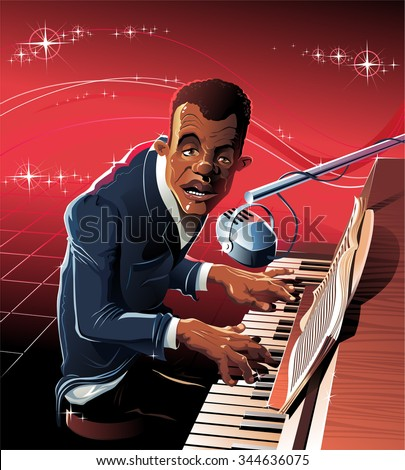 The  musician sits for grand piano and plays jazz. - stock vector
