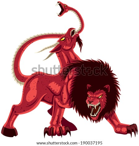 The mythical monster Chimera over white background..  No transparency and gradients used.  - stock vector