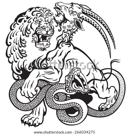 the mythological monster chimera , black and white tattoo illustration