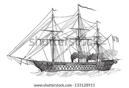 The Napoleon, a 90-Gun French Battleship, Steam-Powered, in 1852, vintage engraved illustration. Dictionary of Words and Things - Larive and Fleury - 1895 - stock vector