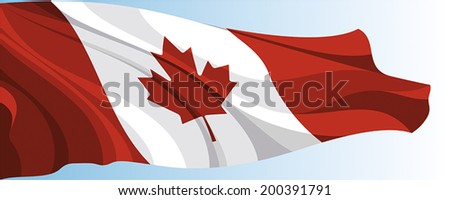 The national flag of the Canada on a background of blue sky - stock vector