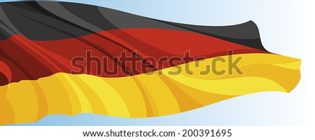 The national flag of the Germany on a background of blue sky - stock vector