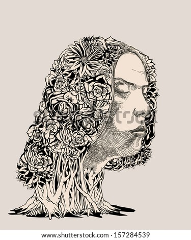 The Nature of Emotions. Earth Woman. - stock vector