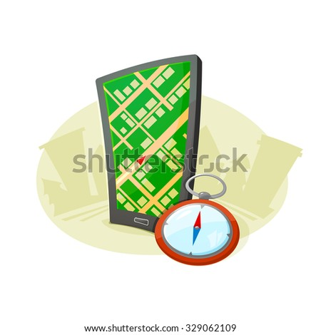 The navigation system in the smart phone and the compass in a landscape concept design, vector illustration - stock vector
