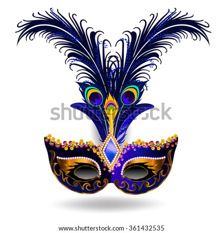 The navy carnival mask with multicolor feathers. The mask decorated with golden pattern and sequins.  - stock vector