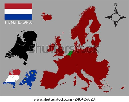 The Netherlands - Three contours, Map of Europe and flag vector - stock vector