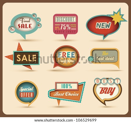 The new retro speech bubbles/signs collection. Vector Illustration. - stock vector