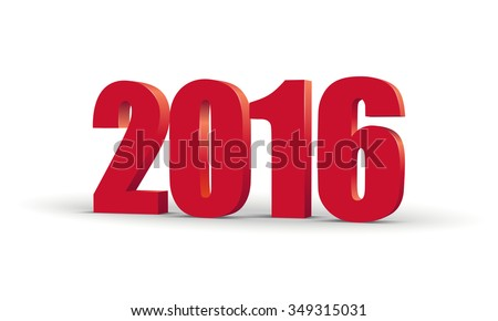 The new year 2016. Red 3d perspective inscription. Vector EPS10 - stock vector