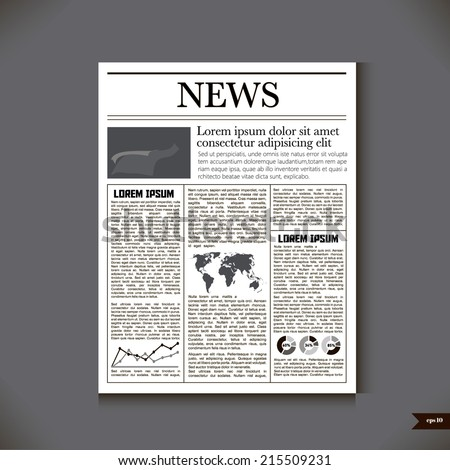The newspaper with a headline News - stock vector