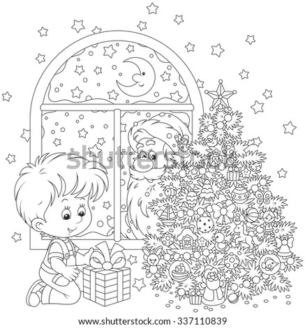 The night before Christmas, Santa Claus peeking in a window and watching a little boy with his gift near Christmas tree - stock vector