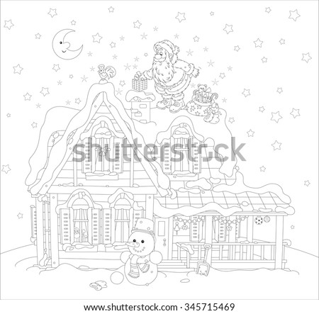 The night before Christmas, Santa Claus putting his holiday presents in a chimney on a snow-covered roof of a house, a black and white vector illustration - stock vector