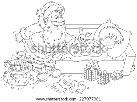 The night before Christmas, Santa Claus with gifts by the bed of a sleeping boy - stock vector