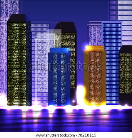the night view of city - stock vector