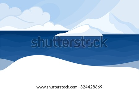 The North Pole. Polar Landscape with Icebergs and snow. - stock vector