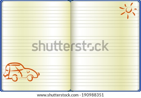 the notebook page with a drawn car - stock vector