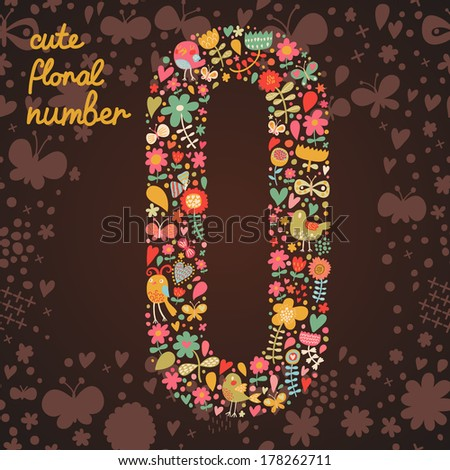 The number 0. Bright floral element of colorful alphabet made from birds, flowers, petals, hearts and twigs. Summer floral ABC element in vector - stock vector