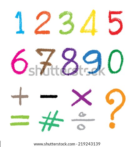 The number drawn by a crayon. Vector illustration. - stock vector