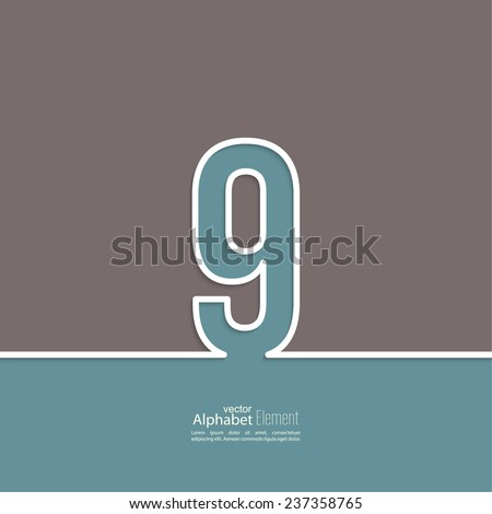 The number 9. nine. abstract background. Outline. Logo or corporate identity - stock vector