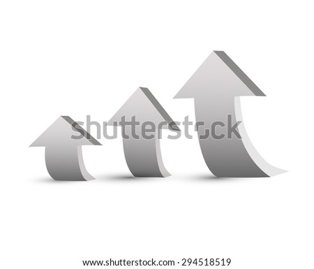 The number of arrows in ascending order vector illustration for presentations - stock vector