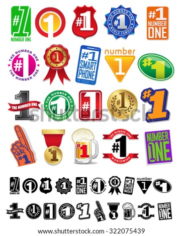 The Number One # 1 Seals and Badges Great Collection - stock vector