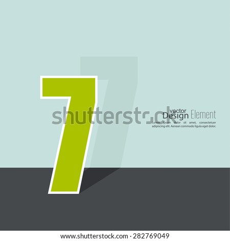 The number 7. seven. abstract background. Outline. Logo or corporate identity. 
