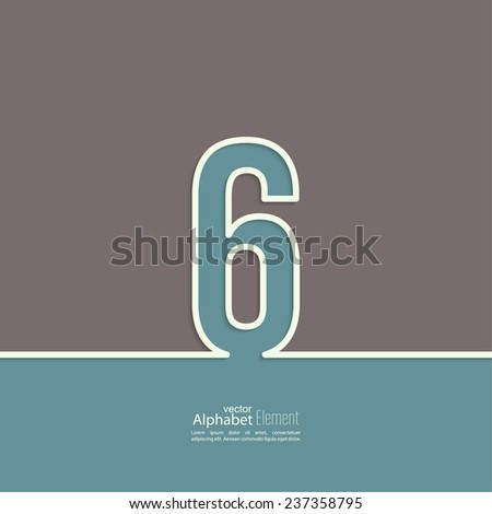 The number 6. six. abstract background. Outline. Logo or corporate identity - stock vector