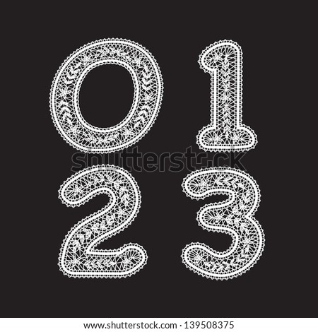 The numbers 0,1,2 and 3 are written with white lace. Lace font for the labels - stock vector