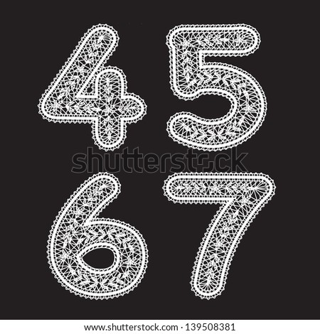 The numbers 4, 5. 6 and 7 are written with white lace. Lace font for the labels - stock vector