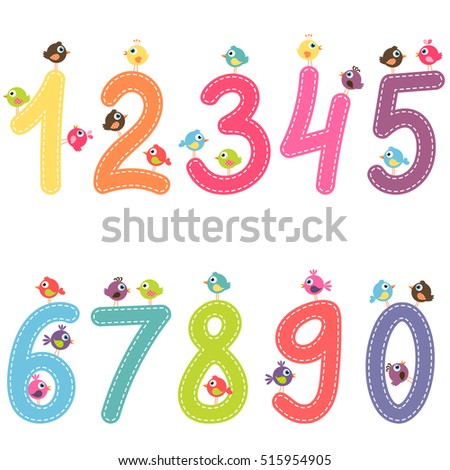 the numbers from zero to nine with birds