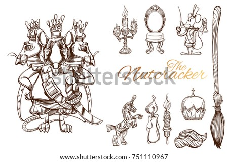 Nutcracker Set Characters Objects Vector Illustration Stock 751110967