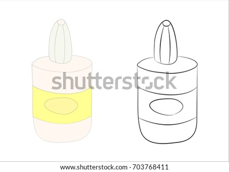 The office is a tube of glue school supplies doodle. Vector illustration