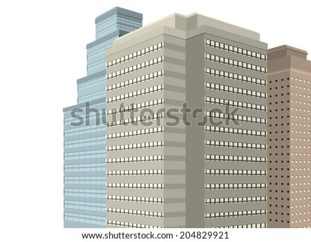 The office modern building exterior on a white background - stock vector