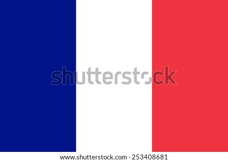 The official flag of France in both sze and color. Also known as Tricolour - stock vector
