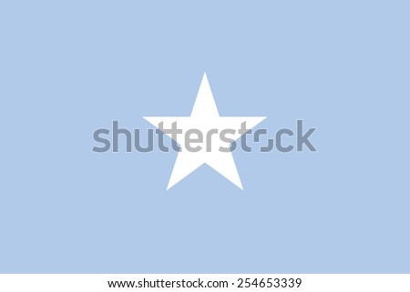 The official flag of the Federal Republic of Somalia in both color and dimensions, - stock vector