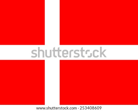 The official flag of the Kingdom of Denmark, also known os the Dannebrog - stock vector