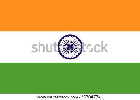 The official flag of the Republic of India is both color and proportions. Also known as the Tiranga - stock vector