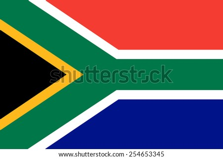 The official flag of the Republic of South Africa in both color and dimensions, - stock vector