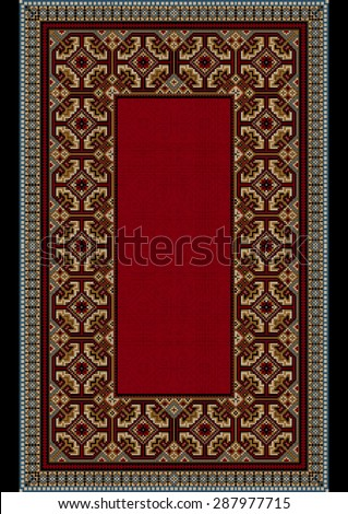 The old carpet with colorful ornament on the border of and shade less red on mid
