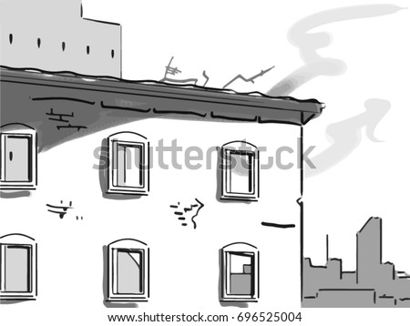 the old house slum landscape black and white vector sketch simple drawing - Simple Drawing House