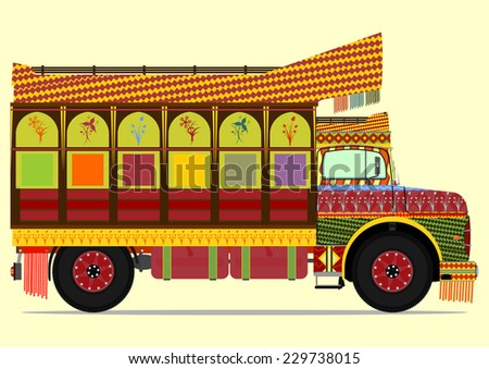 The old jingle truck. Vector illustration without gradients on one layer. - stock vector