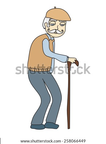 The old man on a white background, vector - stock vector