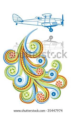 The old plane in abstract collage. Format A4. Vector illustration. Isolated groups and layers. Global colors. - stock vector