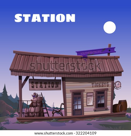 The old tavern on the background of the wild West - stock vector