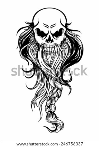 old wise skull head long beard stock vector 246756337 shutterstock. Black Bedroom Furniture Sets. Home Design Ideas